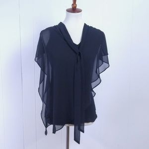 AGB Black T with Sheer Overlay Size Small